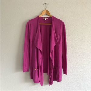 Dana Buchman Purple Pink Open Cardigan Sweater
